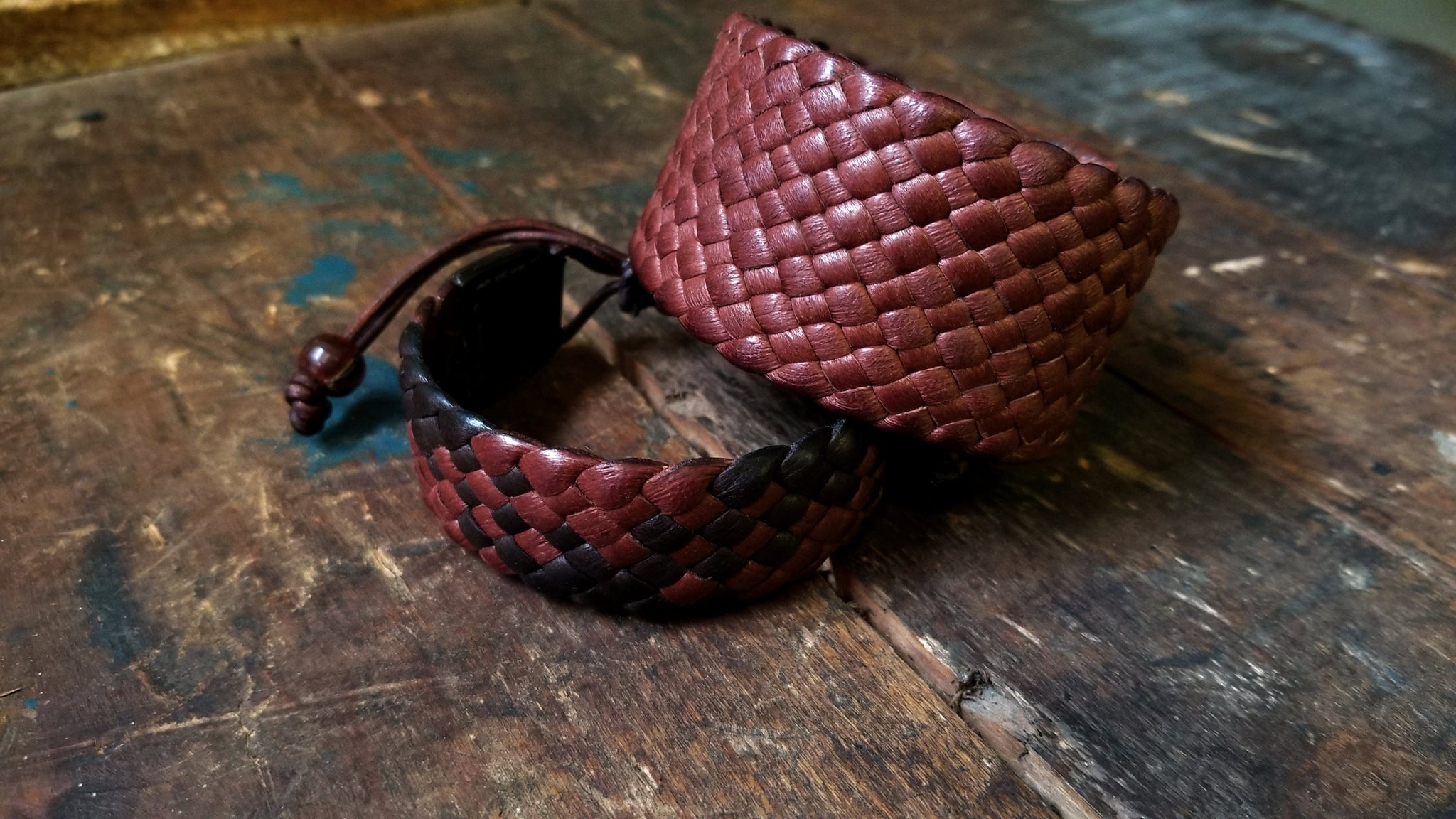 "1.5"" Wide Braided Leather Bracelet, snap closure, mahogany deerskin"