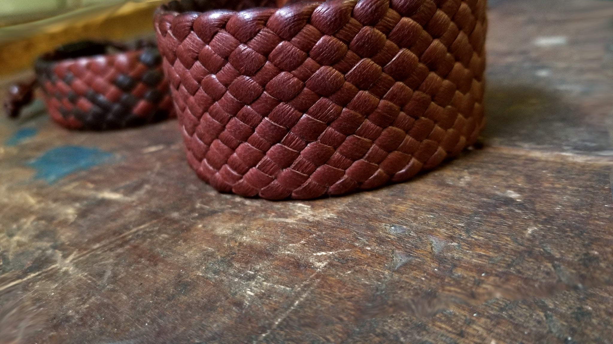 "1.5"" Wide Braided Leather Band, Snap Cuff Leather Bracelet, mahogany deerskin"