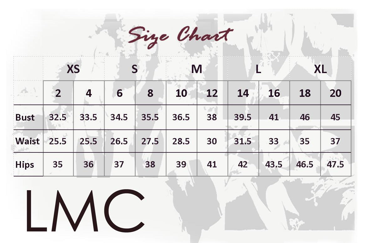Size chart for lisa cantalupo clothing designs; alie suede leather halter top