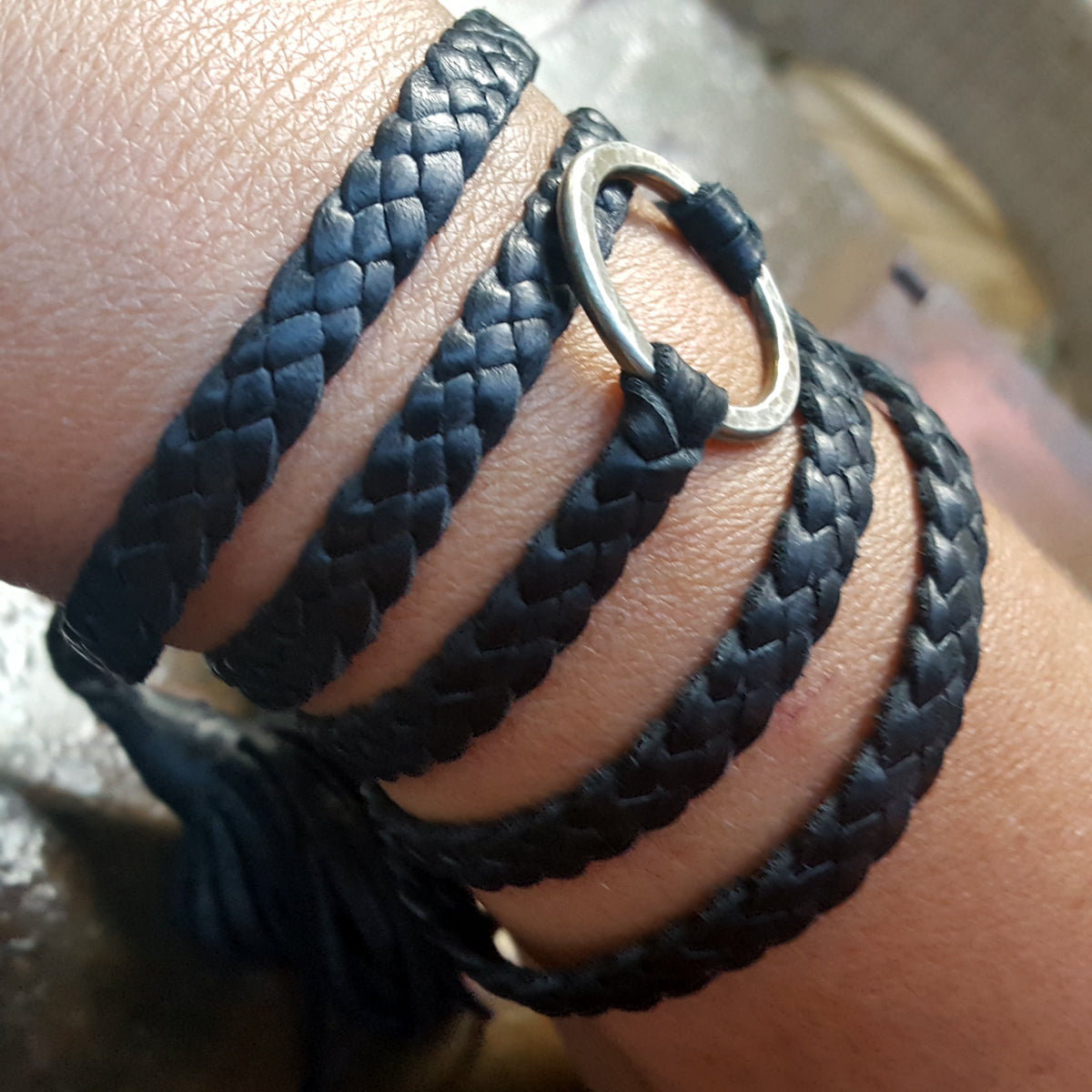 baided leather wrap bracelet with hammered ring