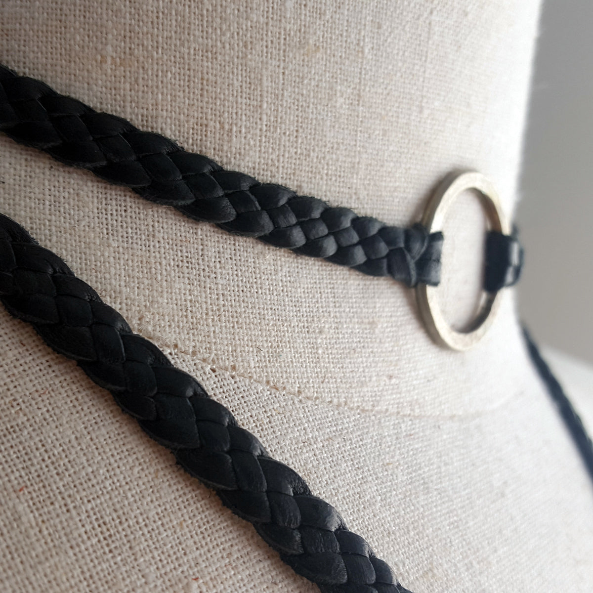 braided leather choker, eternity necklace with hammered ring