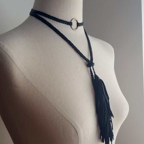 slave necklace with hammered ring and tassels