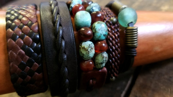Tano - 5 leather bracelet set, African Turquoise, Red Carnelian, African Glass, Braided Leather, Beaded - Leather Mix Option