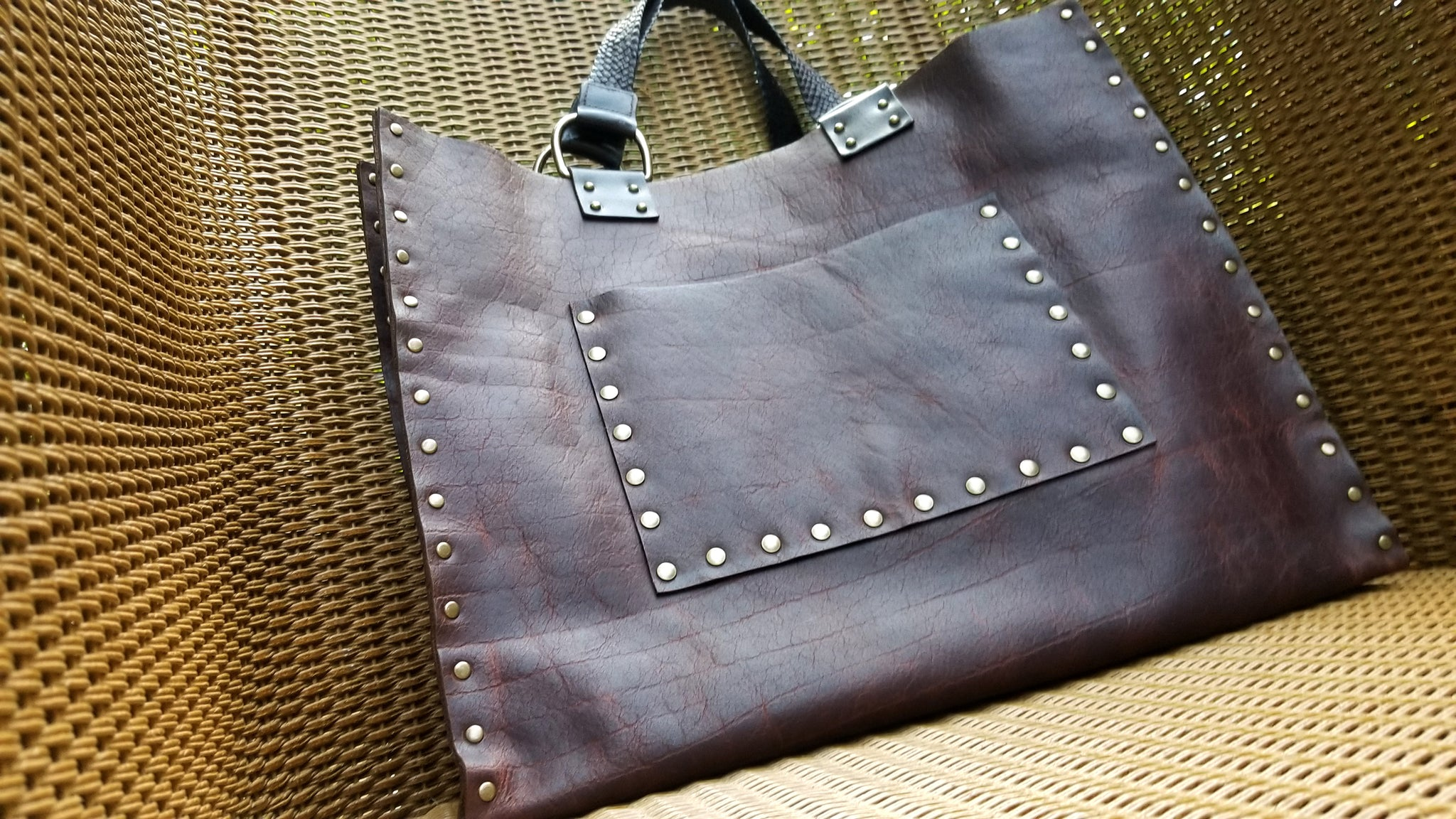 Malia leather tote bag carry all in canela navajo bison leather