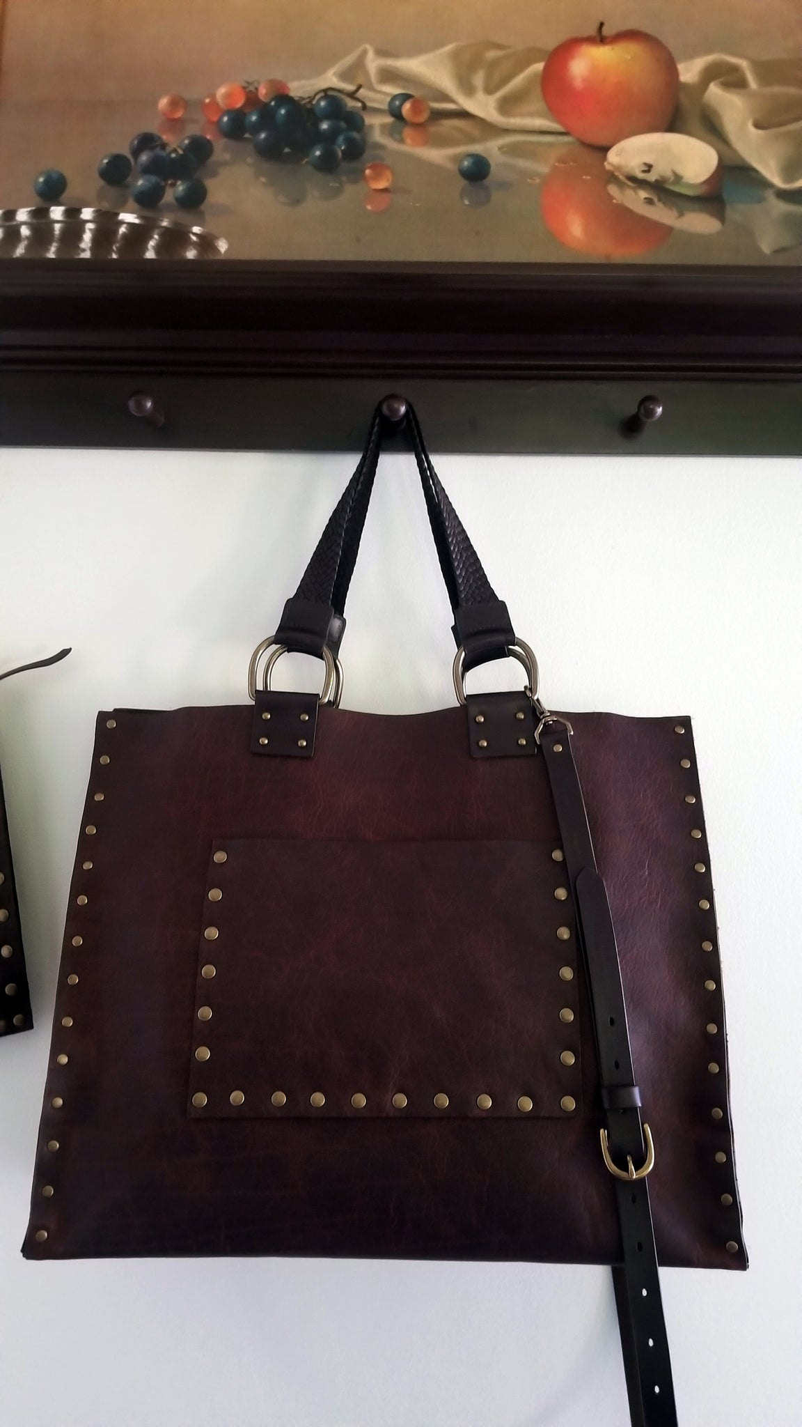 malia tote bag, brown with matching carry strap