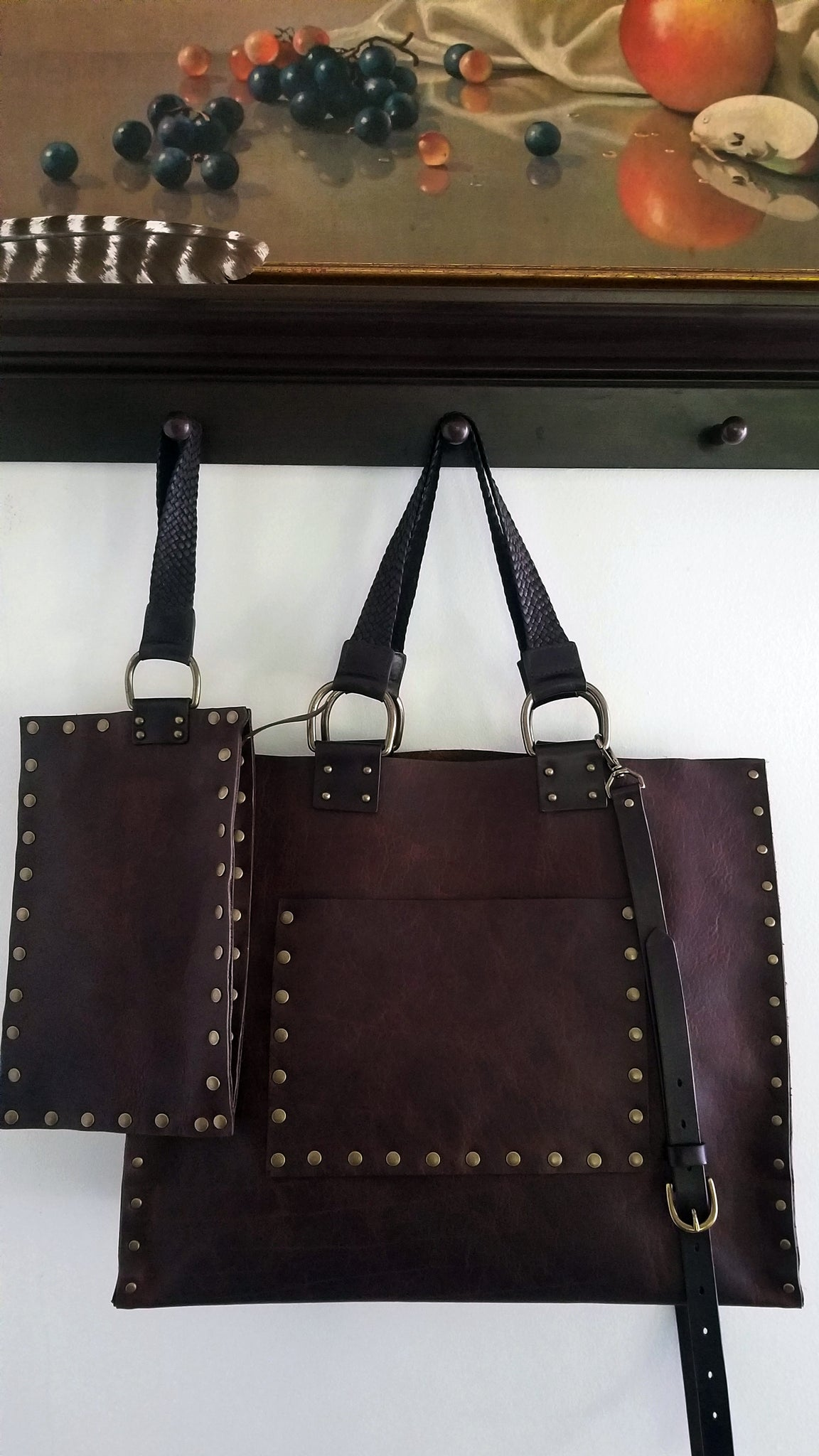 394a3d3de01bb Malia leather tote bag with matching leather wristlet in canela navajo  bison leather