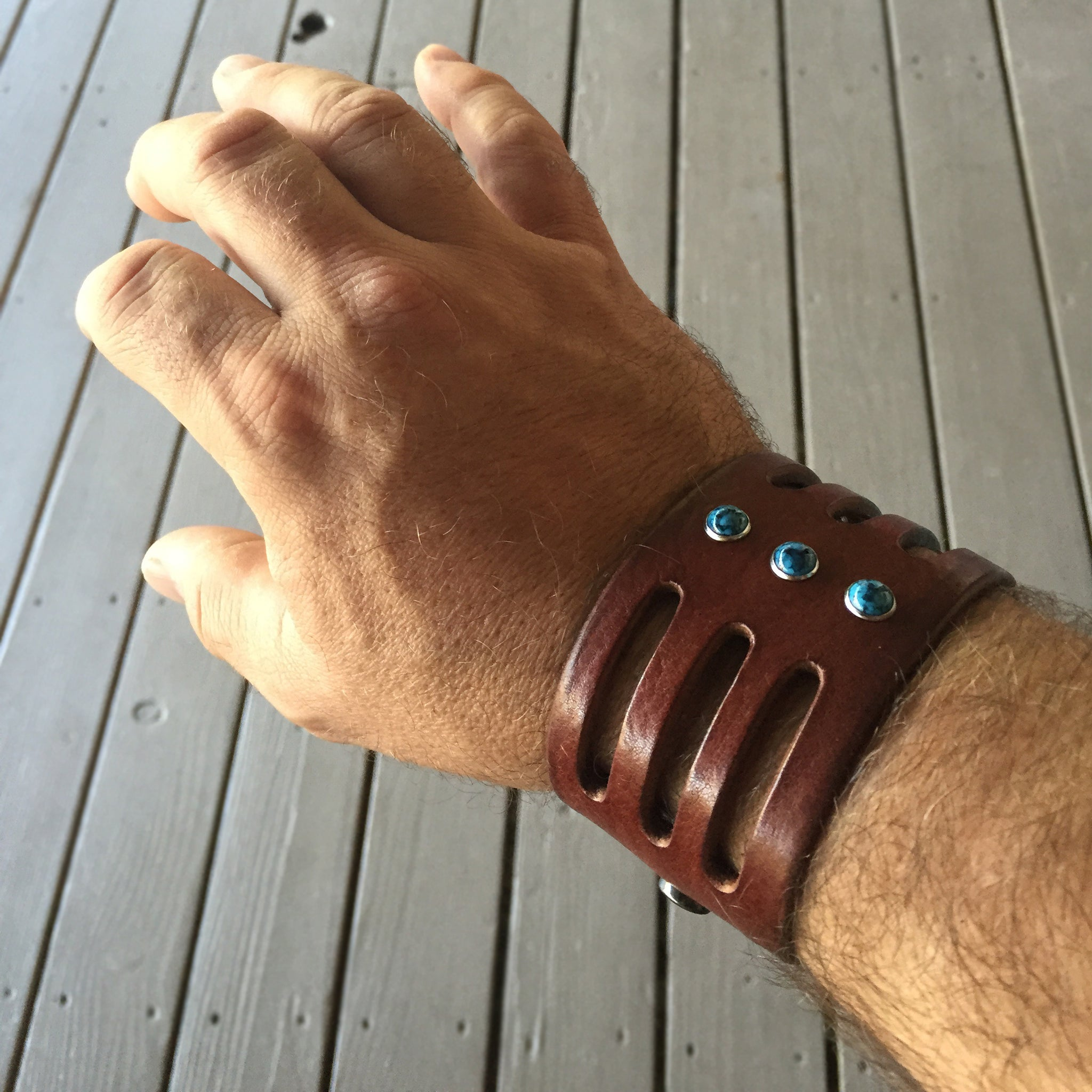 customer photo wearing Trinity Turquoise Window Wide Leather Cuff Black Chocolate or Tobacco