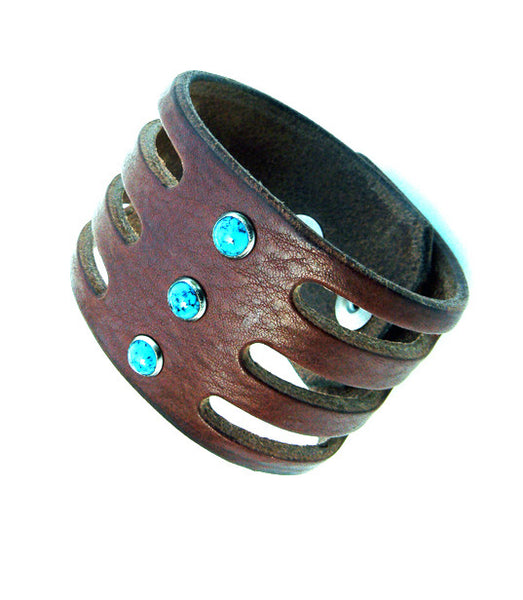Trinity Turquoise Window Wide Leather Cuff Black Chocolate or Tobacco