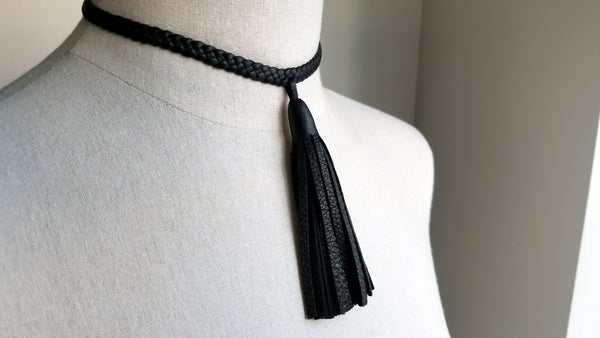 Tilu Leather Tassel Necklace front tassel, in black deerskin leather