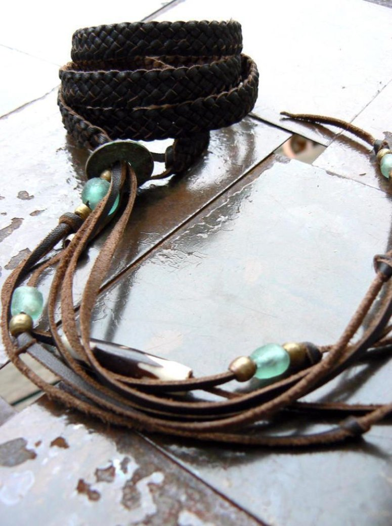 Adjustable Braided  Leather Wrap Bracelet, Zuna Aquamarine African Glass, Antique Brass, African Coin & Batik Bone Bead