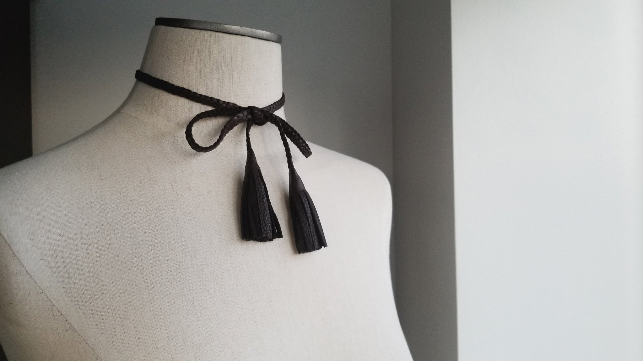 Dua Braided Leather Tassel Necklace, bow and tassels, in chocolate brown deerskin leather