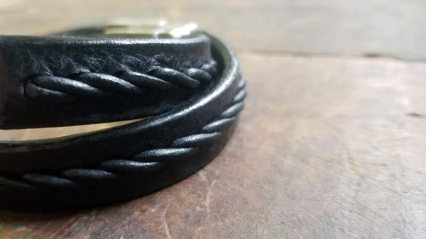 2 Stair step braid leather bracelet, black aztec leather