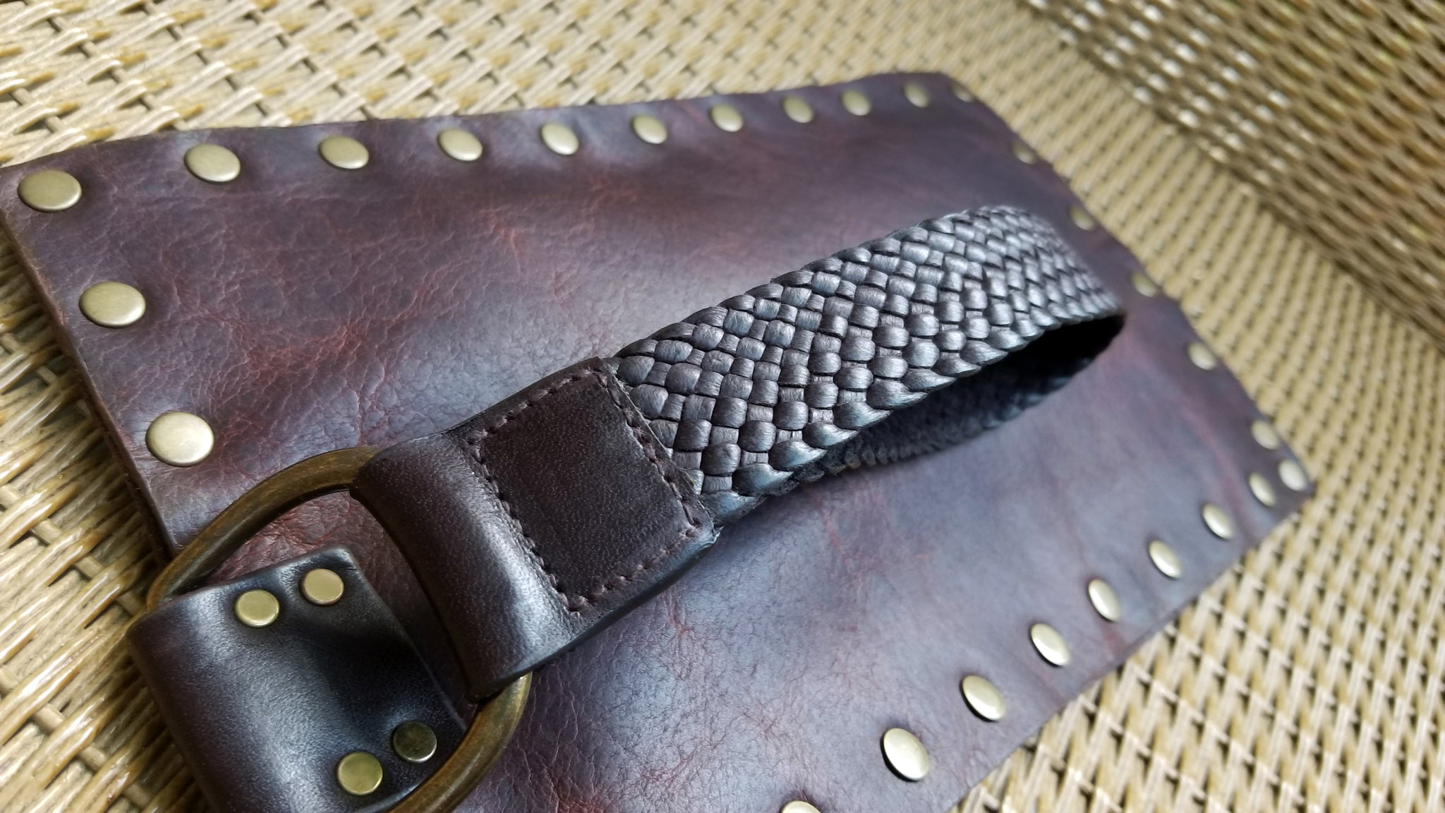 leather wristlet with braided leather handle, part of the Malia Collection of tote bags and purses. In Navajo Canela Bison