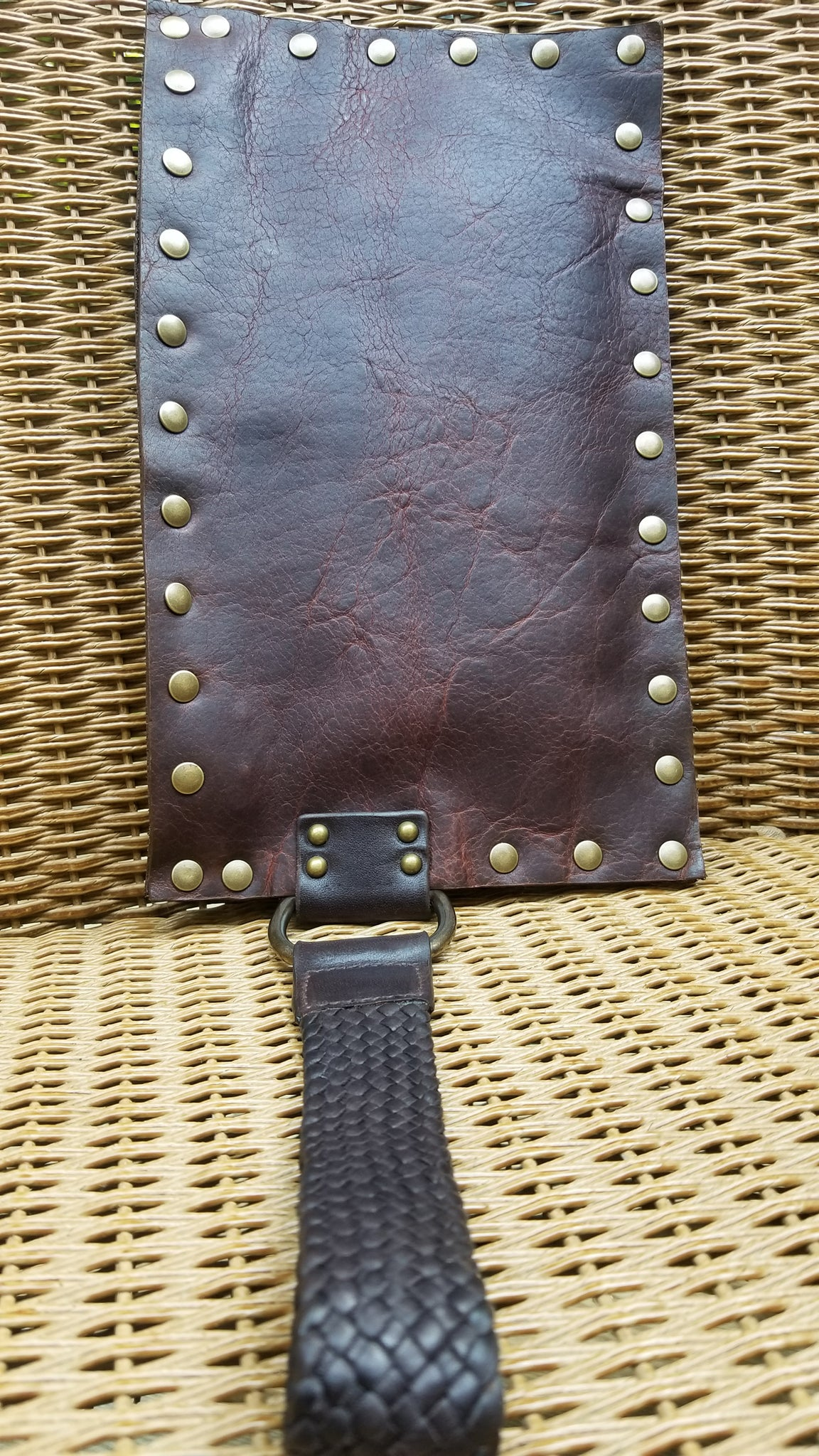leather wristlet zippered purse, Malia, navajo bison leather in canela brown