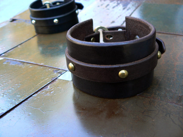 Tocari Leather Dome Rivet Cuff Black or Brown Close up