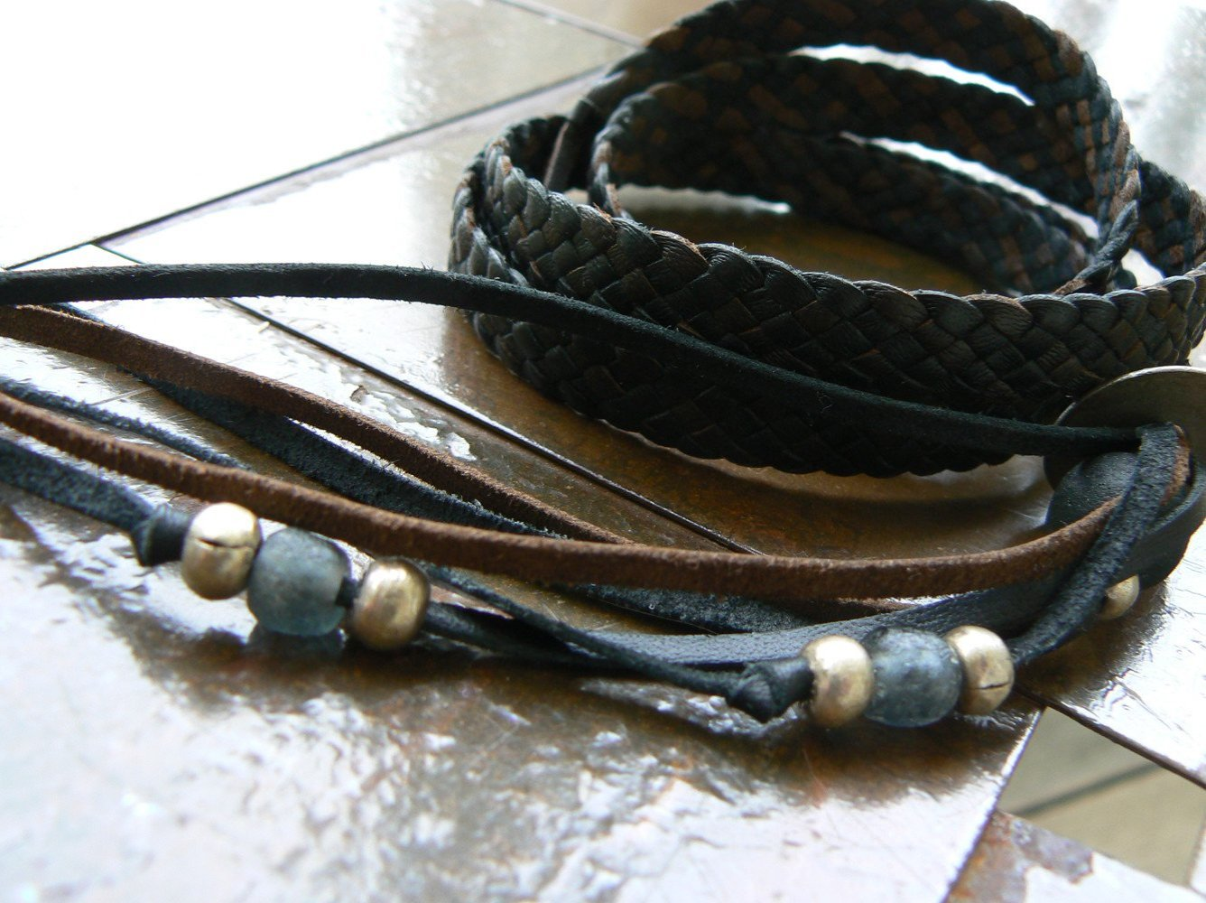 Zuna Wrap Bracelet in Black Chocolate Combo with Charcoal African Glass Bead and Silver Ethiopian Beads