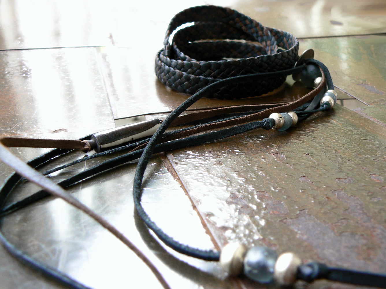 Zuna Leather Bracelet in Black Chocolate Combo with Charcoal African Glass Bead and Silver Ethiopian Beads