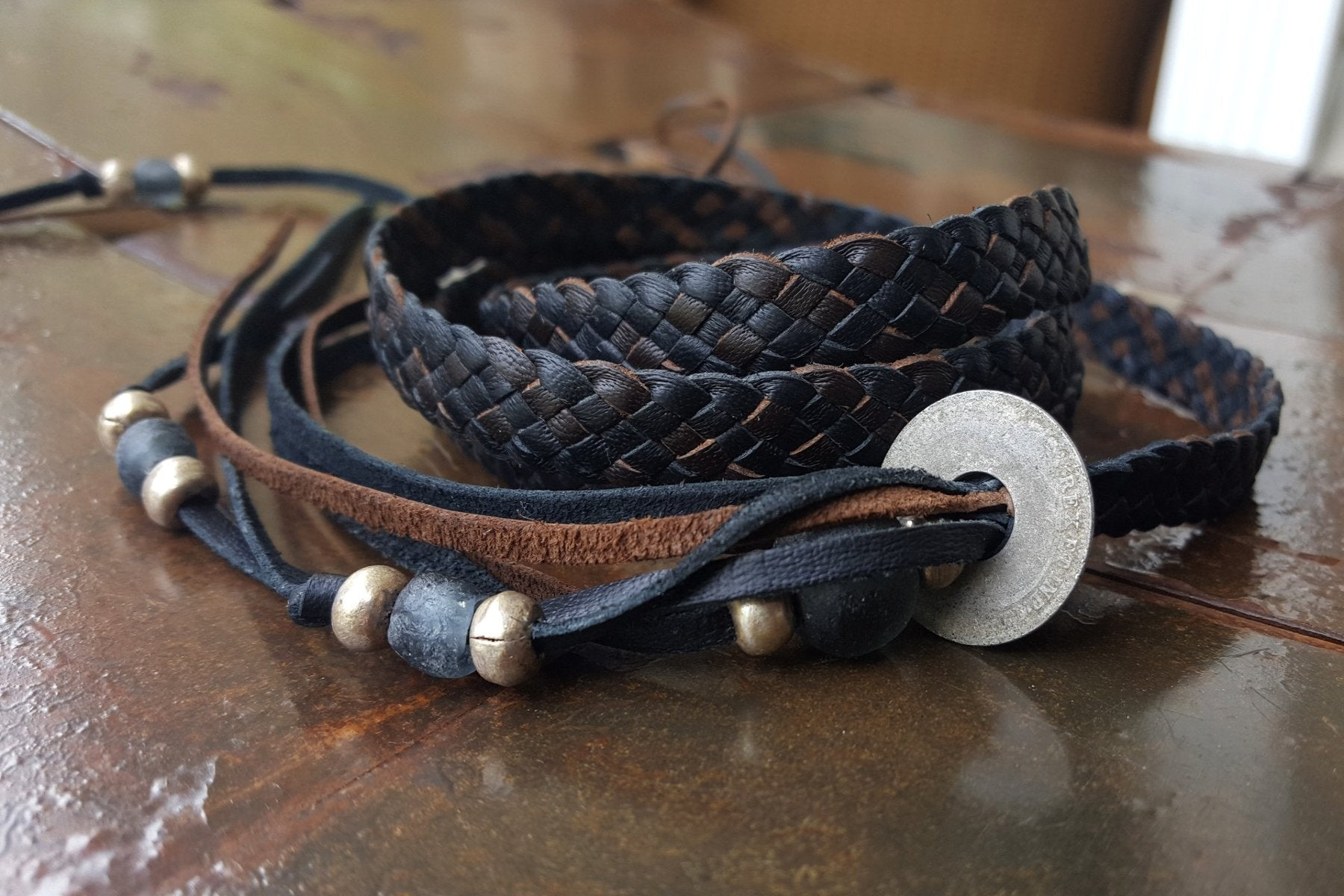 braided leather wrap bracelet, chocolate and black kangaroo leather with African beads