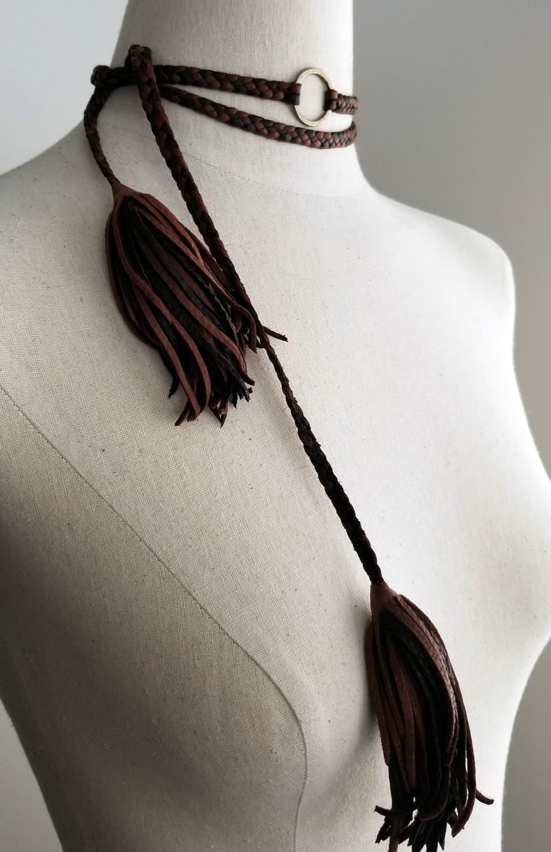 eternity necklace, choker style with leather tassel ends, bronze ring