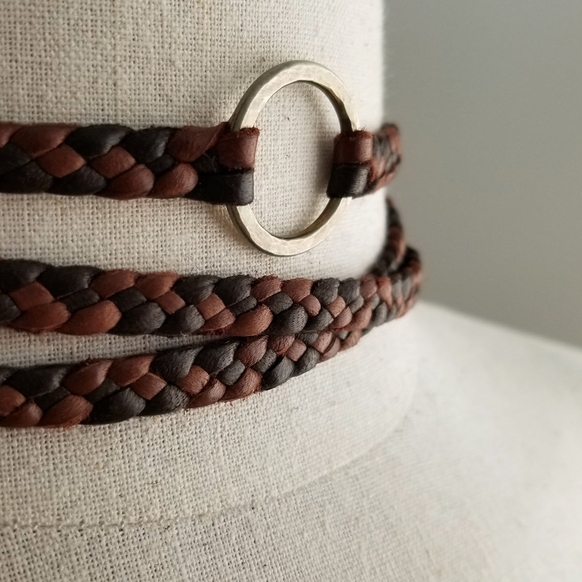 brown and black eternity necklace, braided leather choker necklace with antique bronze ring