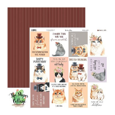 12x12 Paper - Fancy Cats Journal Cards