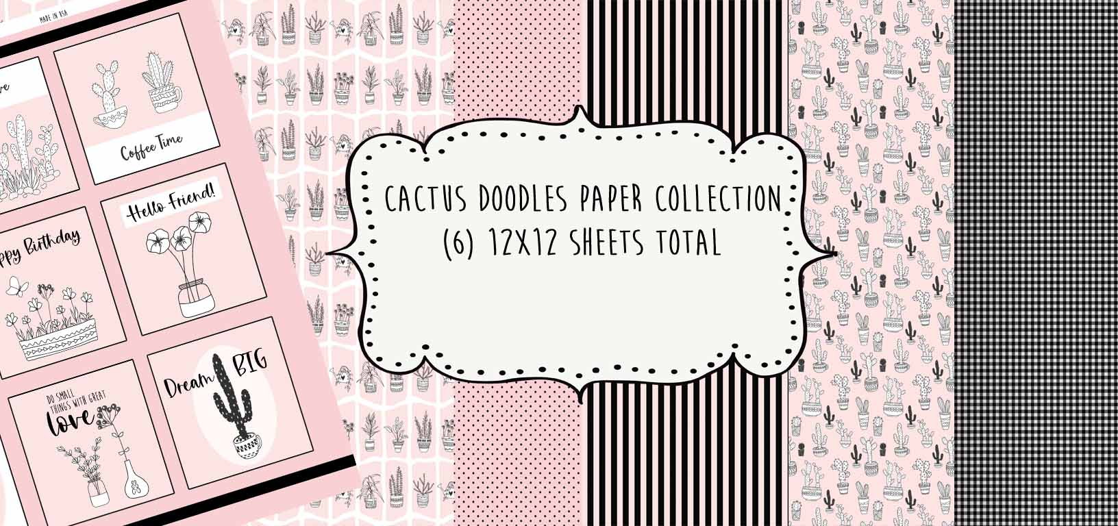 Cactus Doodles Paper Collection - 6pc