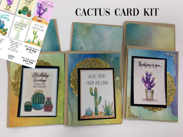 Colorful Cactus Card Kit - 6 Cards