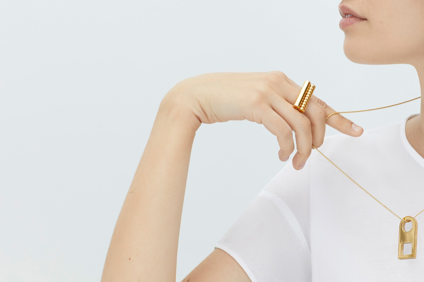 cocktail ring | geometric necklace | Alice Made This