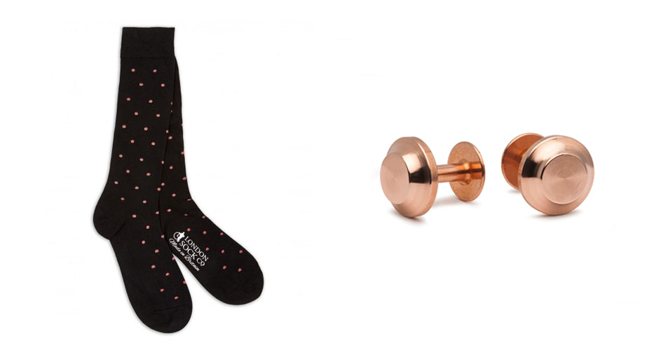 Copper cufflinks | Alice Made This | Wedding cufflinks and socks