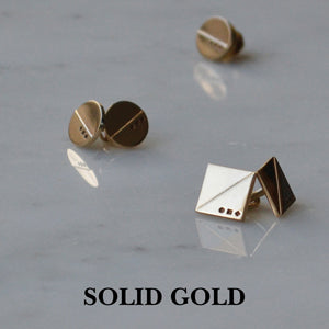 Gold cufflinks | Gold lapel pin | Alice Made This