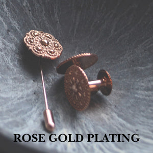 Rose gold cufflinks | Rose gold lapel pin | Alice Made This