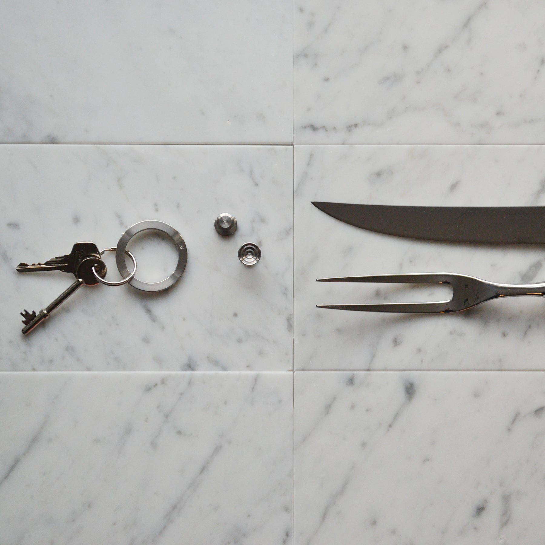 Steel cufflinks | Steel key ring | Alice Made This | Hawksmoor