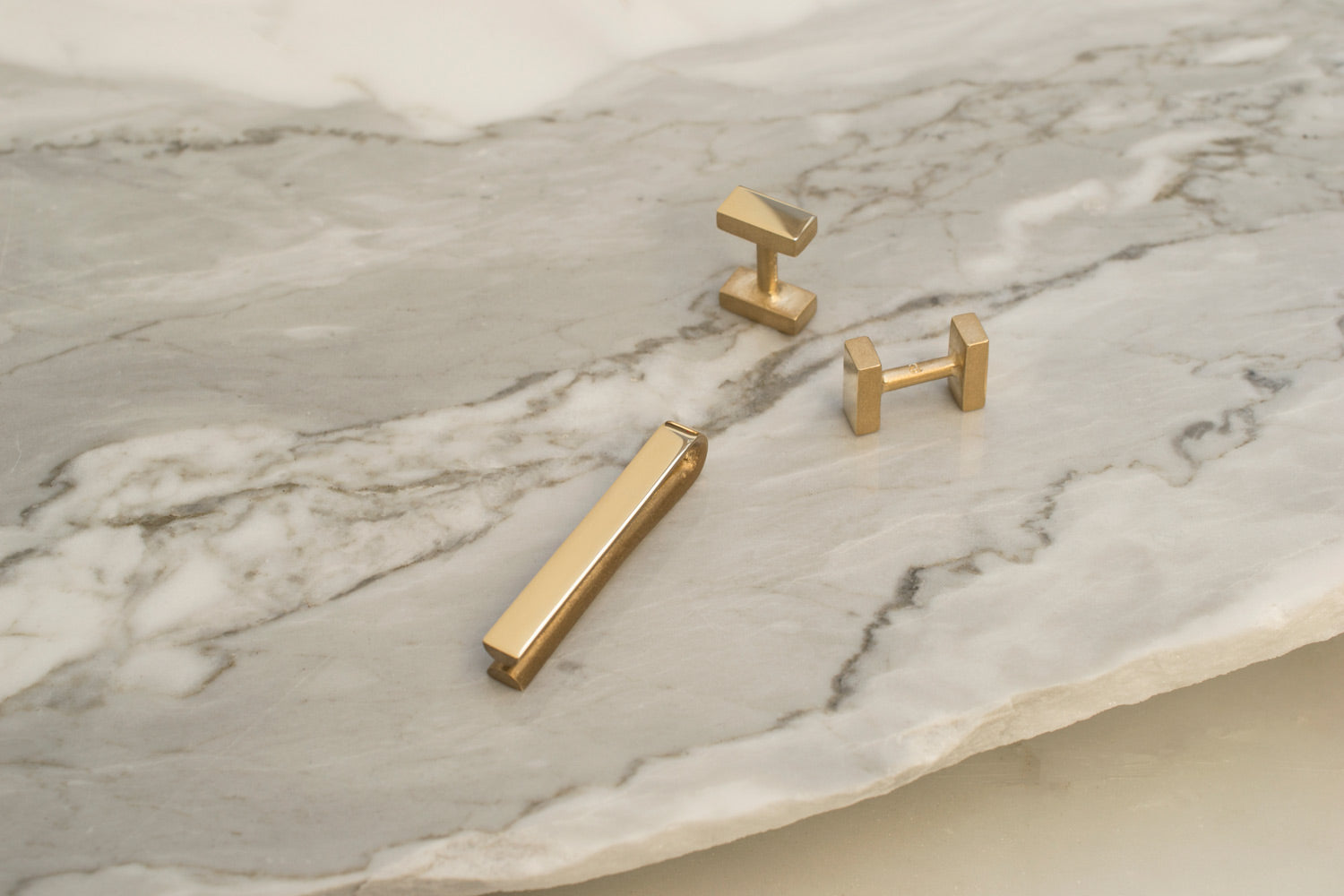 gold cufflinks | gold tie bar | Alice Made This