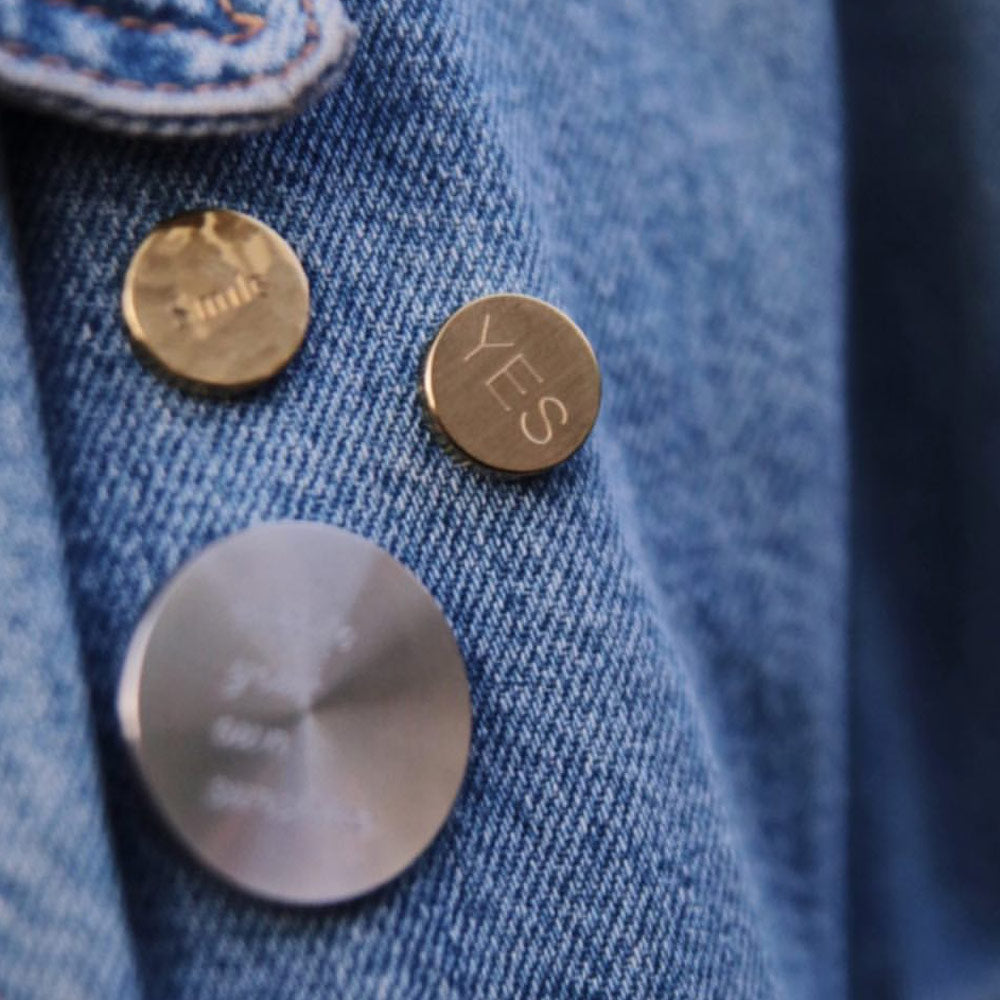 lapel pin on denim jacket | Alice Made This