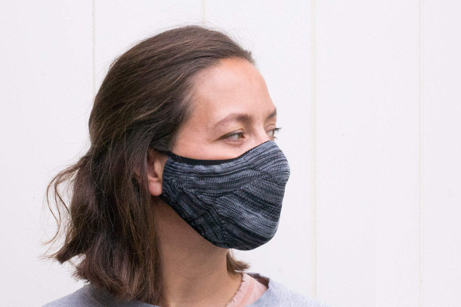 steel coloured reusable facemask | how to wear | reusable face mask
