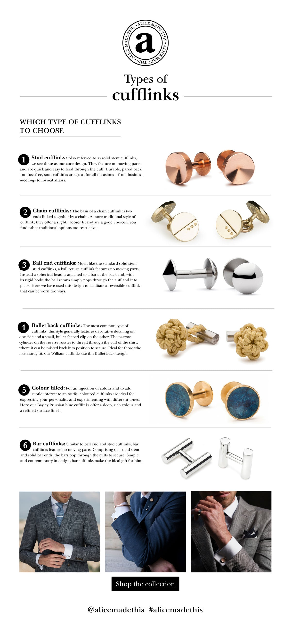 types of cufflinks | Alice Made This