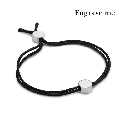 dot black and silver bracelet | engrave me