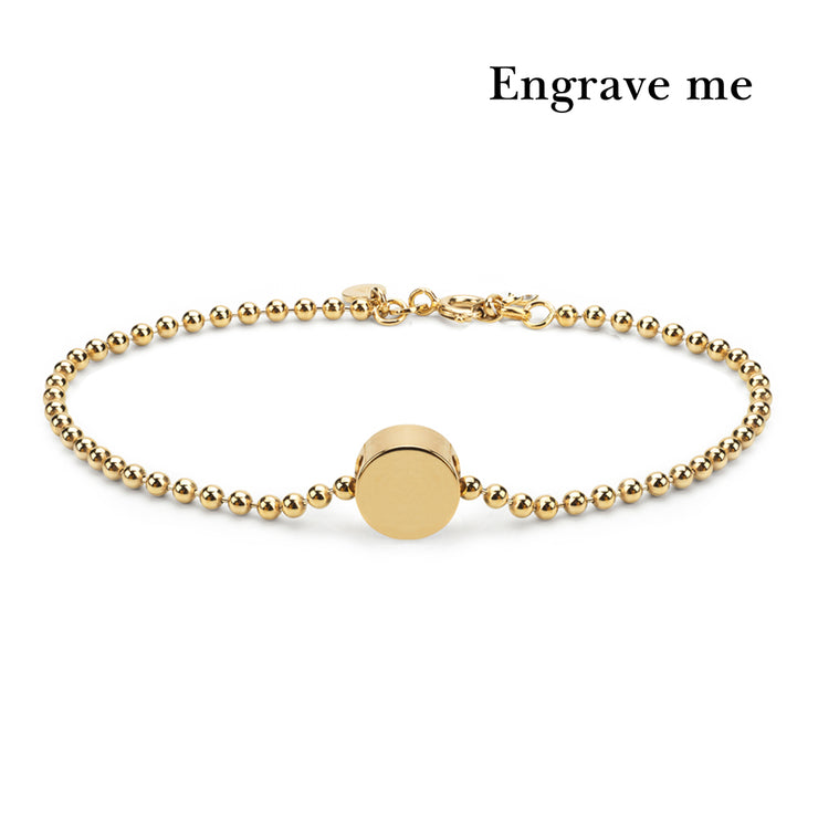 dot gold ball mens bracelet | engrave me