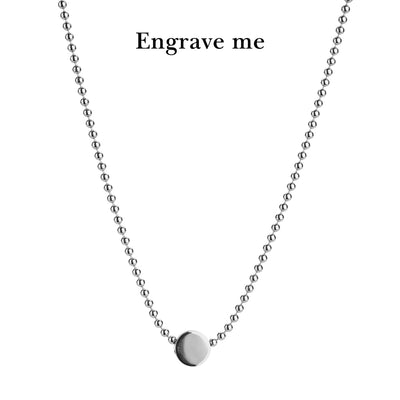 dot silver ball necklace | engrave me