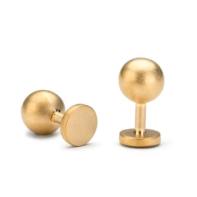 grafton matte gold cufflinks | 18 carat ball cufflinks