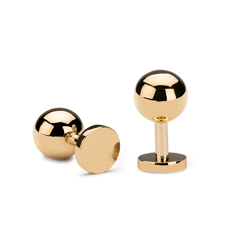 grafton polished gold cufflinks | 18 carat gold ball cufflinks