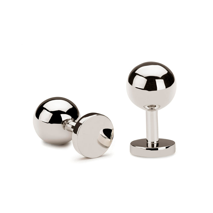 grafton polished silver cufflinks | silver ball cufflinks
