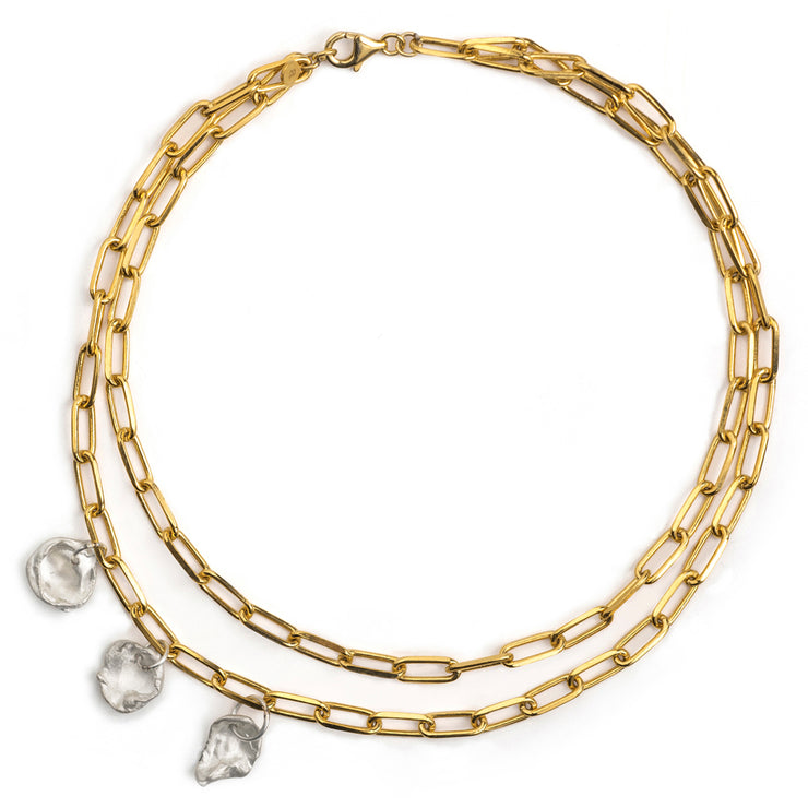 maya gold and silver 3 charm choker necklace | water casting