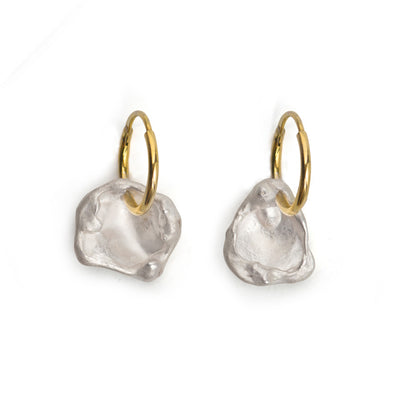maya gold hoop silver charm earrings | water casting