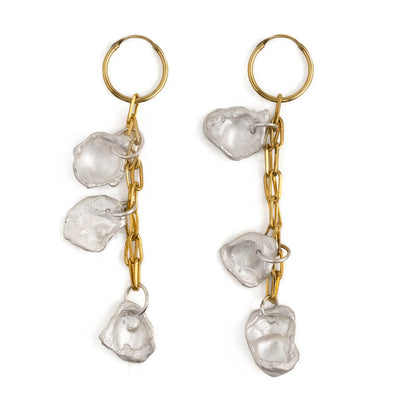 maya gold silver 3 charm earrings | water casting