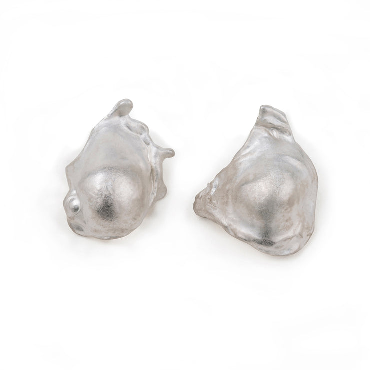 maya large silver bubble stud | water casting