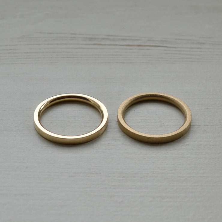 3mm gold wedding rings | blasted finish