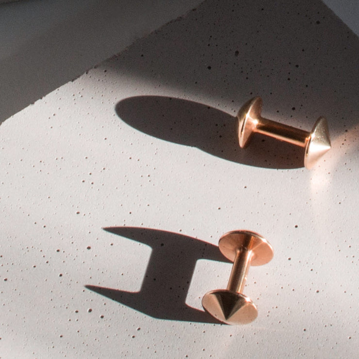 austin rose gold cufflinks | close up