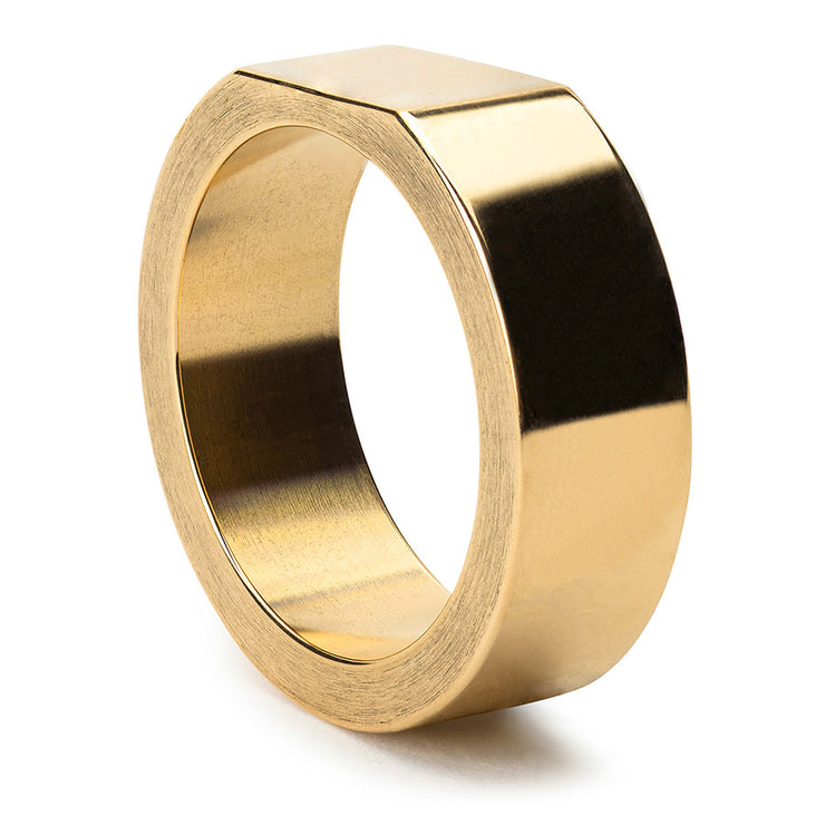bacchus polished brass signet ring | close up