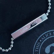 charlie silver necklace | engraving detail